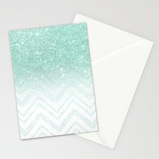 Faux teal glitter ombre modern chevron pattern Stationery Cards