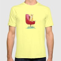 Rusty Cat Mens Fitted Tee Lemon SMALL