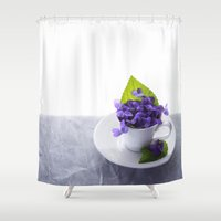 Spring Time Violet Tea - Flowers Shower Curtain