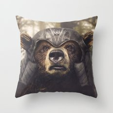 Armored Bear Companion Throw Pillow