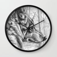 Wolf in woods G082 Wall Clock