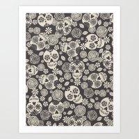 Sugar Skulls - Black & W… Art Print