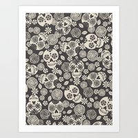 Sugar Skulls - Black & White Art Print