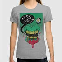 Kiss kiss Womens Fitted Tee Athletic Grey SMALL
