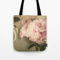 Painted Peonies -- Botanical Still Life Tote Bag