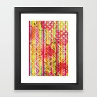 Retro Pattern Collage Framed Art Print