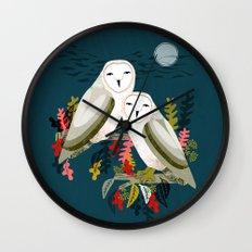 Two Owls by Andrea Lauren Wall Clock