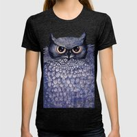 La Sagesse du Hibou (The Blue Owl) Womens Fitted Tee Tri-Black SMALL