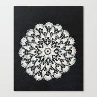 beige black lace Canvas Print