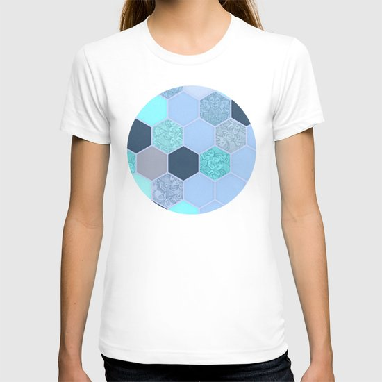 Denim Blue, Aqua & Indigo Hexagon Doodle Pattern T-shirt