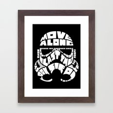 Stormtrooper in typography Framed Art Print