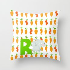r for rabbit Throw Pillow