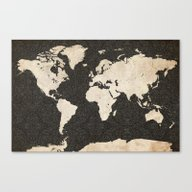 World Map - Ink Lines Canvas Print