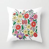Hungarian embroidery motifs Throw Pillow