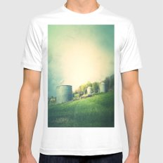 Farm land drive by White SMALL Mens Fitted Tee