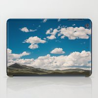 Puffy White Clouds with Blue Sky and Green Meadow Hills iPad Case