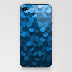Blue hexagon abstract pattern iPhone & iPod Skin