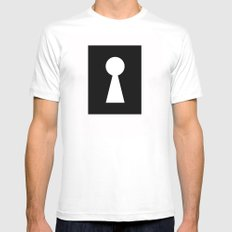 key hole black and white illustration mistery secret White Mens Fitted Tee SMALL