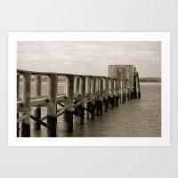 Black And White Pier Art Print