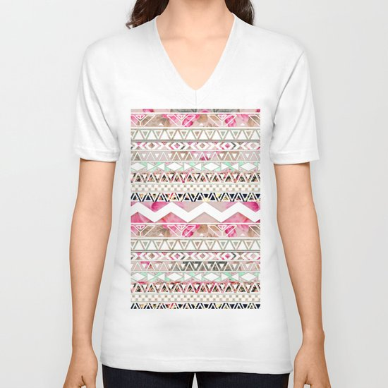 Aztec Spring Time! | Girly Pink White Floral Abstract Aztec Pattern V-neck T-shirt