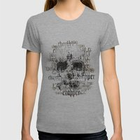 SKULL BIKE Womens Fitted Tee Athletic Grey SMALL