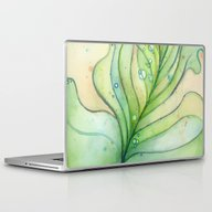 Green Watercolor Feather… Laptop & iPad Skin