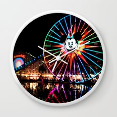 Paradise Pier at Night Wall Clock