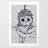 Bobble Hat Owl Art Print