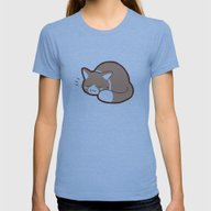 Sleepy Kitty Womens Fitted Tee Tri-Blue SMALL