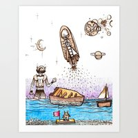 Space Boats Art Print