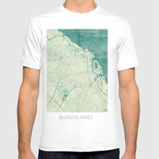 Buenos Aires Map Blue Vintage SMALL White Mens Fitted Tee