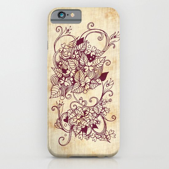 Flower hearts, Red earth on yellow iPhone & iPod Case