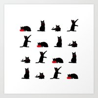 Cats Black on White Art Print