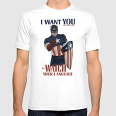I want you to watch your language Mens Fitted Tee White SMALL