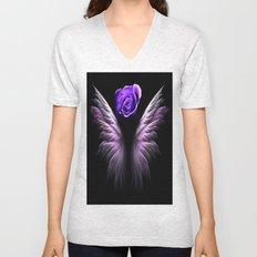 Purple Winged Rose Unisex V-Neck