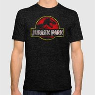 JURASSIC PARK Mens Fitted Tee Tri-Black SMALL