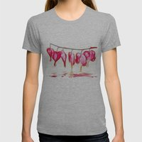 Bleeding Hearts Womens Fitted Tee Athletic Grey SMALL