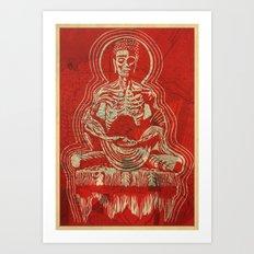 Zombuddha Red Linocut Art Print