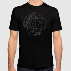 Record Black and White Mens Fitted Tee Black SMALL