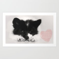 buy happiness - little puppy dog Art Print
