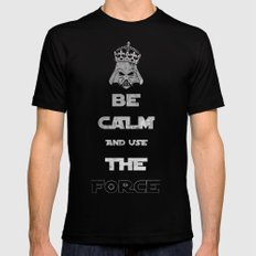 Be Calm and Use The Force SMALL Black Mens Fitted Tee