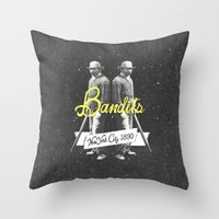 Vintage Western New York Bandits Black White Art Throw Pillow