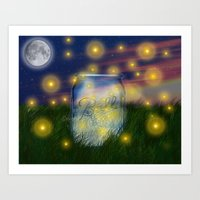 Summer Fireflies Art Print