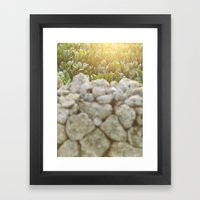 Sunset over a Mediterranean field and a dry stone wall Photo for Interior Design Framed Art Print
