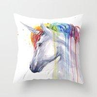 Rainbow Unicorn Watercolor Throw Pillow
