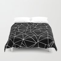 Abstraction Outline Blac… Duvet Cover