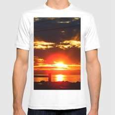 Glowing Sunset on the Sea White Mens Fitted Tee SMALL