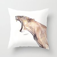 Lioness Yawning Throw Pillow