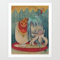 DANCING SCAREDY MONSTER Art Print
