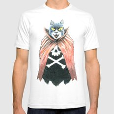 Cat Cape Mens Fitted Tee White SMALL